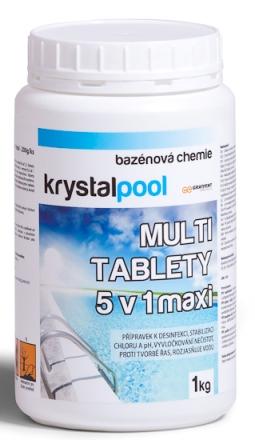 Fotografie Krystalpool Multi tablety 5v1 maxi 1 kg (200g) multifunkční